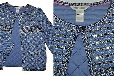 Monsoon Tailored Jacket Girl 11-12 Years Blue Floral Loght Padded Cotton