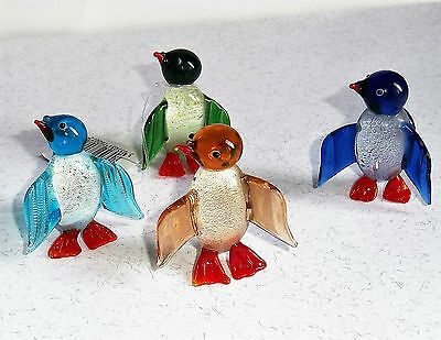 Set 4 blown glass PENGUINS - assorted colours. 5-6cm NEW great stocking fillers!