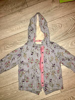 Baby Girl Next Floral Parka Grey Very Cute 2-3 Warm Winter Twins 1 Of 2