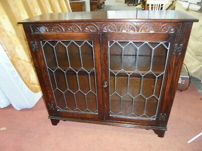 Vintage carved oak leaded glass bookcase cabinet Jaycee old charm Jacobean