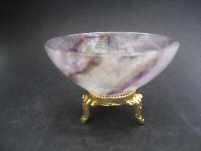 "Natural AMETHYST Hand Carved Gemstone 3"" (7.6 cm) BOWL CRYSTAL Healing"