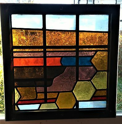 Vintage Art Deco Style Stained Glass Window Panel