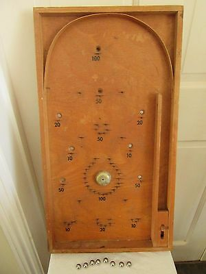 Vintage Wooden Bagatelle Pinball Game with ball bearings