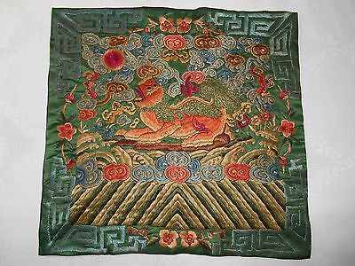 Antique 19thc Chinese Hand Embroidered Silk Military High Rank Badge Textile