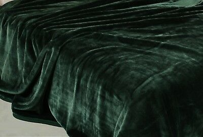 4kg Heavyweight Thick Korean Style Faux Mink Blanket Oversized King, Green