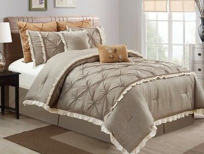 Chezmoi Collection 8pc Floral Pintuck Faux Linen Comforter Set Queen, Taupe