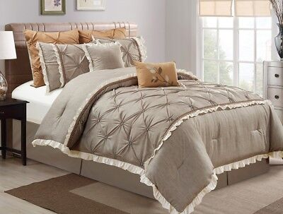 Chezmoi Collection 8pc Floral Pintuck Faux Linen Comforter Set Cal King, Taupe