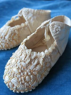 Sweetest Antique Baby Shoes- Silk & Gold Thread Hand Embroidery - Circa 1790's
