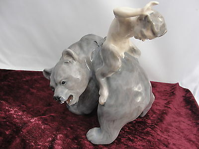 976 Very Rare Old Vintage Royal Copenhagen Figurine Faun On Bear