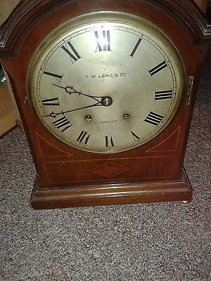 RARE Genuine ANTIQUE 19th Century Mahogany Clock,T.W.Long, Cardiff-Works well