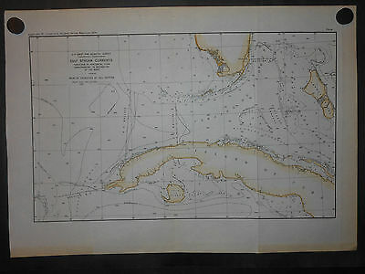 Florida Great Bahama Bank Andros Island Cuba Gulf Stream Currents 1890 Map H/Col