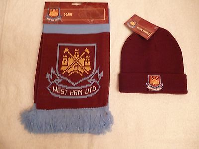Official west ham bar scarf plus beanie hat with tags. Both Brand New Unused.