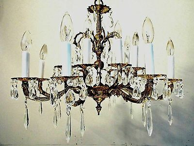 Antique Vintage Chandelier Bronze 16 Light Fixture Crystals pendant RESTORED