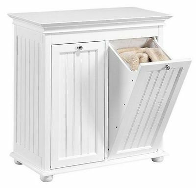 Wood Tilt-Out Laundry Hamper Home Bath Double Shelf Storage Closet Cabinet Decor