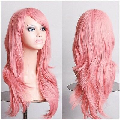 Women Beautiful Long Wavy Layer Cosplay Wig Anime Party Costume Full Wigs Pink y