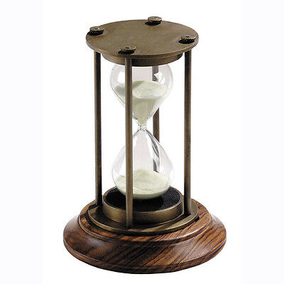 "Brass Hourglass Sand Timer 5"" Bronze Finish Nautical 30 Minute Marine Sandglass"