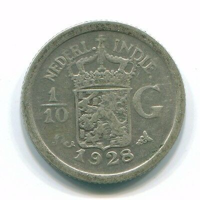 1928 Netherlands East Indies 1/10 Gulden Silver Colonial Coin Nl13425#3