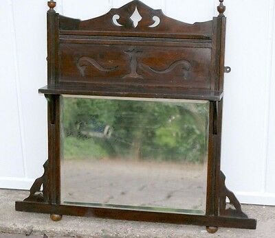 Antique overmantle mirror with display shelf