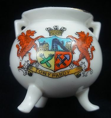 Victoria Crested China Coalbrookedale Pot - Tonypandy Crest