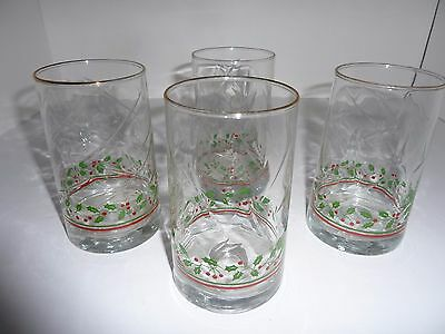4 Arby's 1984 Holiday Christmas Glasses Holly Berry Water Tumblers
