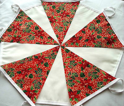 Christmas Bunting RED FLORAL Fabric & Plain CREAM 10ft Handmade Garland Banner
