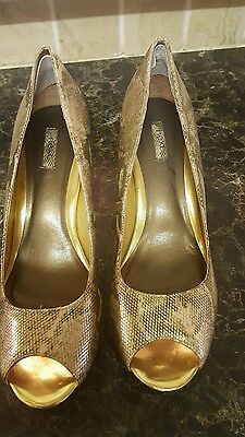 Next size 7 gold snake print shoes party peep toe