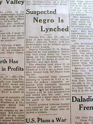 1934 newspaper NEGRO MAN LYNCHED in TAMPA Forida for attack on White Woman