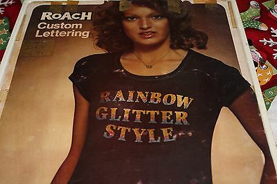 Vintage Roach Heat Transfer Iron On Rainbow Glitter Style Letters Lot of any 5