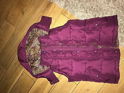 Girls Joules Little Joule Purple Padded Hooded Gilet Age 6 Years