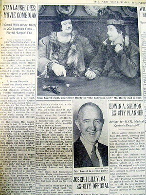 1965 NY Times newspaper w DEATH of STAN LAUREL of LAUREL & HARDY comedy team