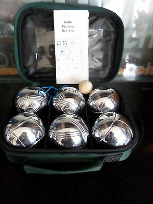 Professional 6 Steel French Boules Garden Game Set + 1 Jack + 1 Carry Case