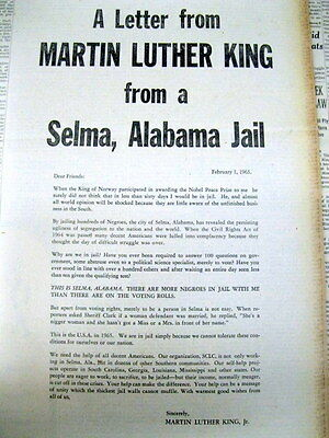 9 NY Times newspapers MARTIN LUTHER KING Civil Rights SELMA Alabama JAIL LETTER