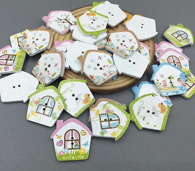 20pcs Wooden House shape Sewing Buttons Scrapbooking Mixed color 25mm