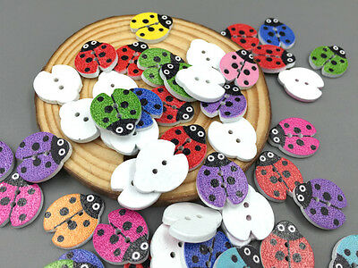 50pcs Mixed Color beetle/Ladybug Wooden Buttons Sewing Scrapbooking 18mm