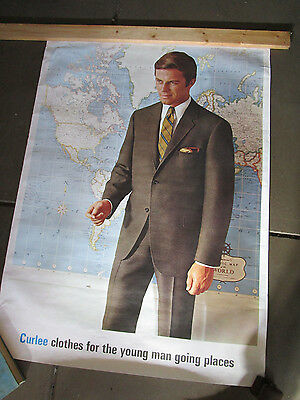 Vintage Large Curlee Men's Clothes Lithograph Advertising Poster