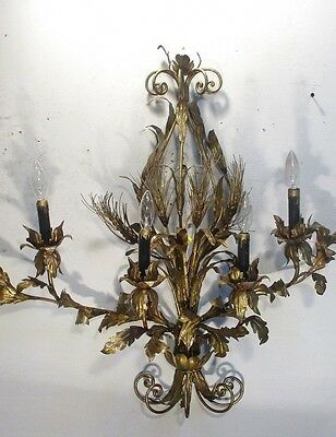 Vintage Antique Grand Sconce Italian  Rewired Chandelier Wall mount or plug in