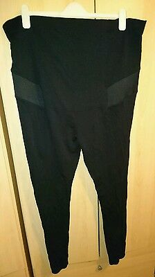 Maternity Thick Black Leggings Over Bump H&m Size Xl Comfy 20 22