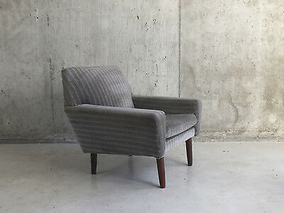 Danish 1970's mid century striped fabric occasional armchair with teak legs