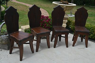 Cathedral Style Solid Timber Chairs x 4