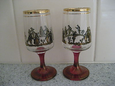 Collectable Vintage Set of 2 Decorative Port/Sherry Glasses - 1960's