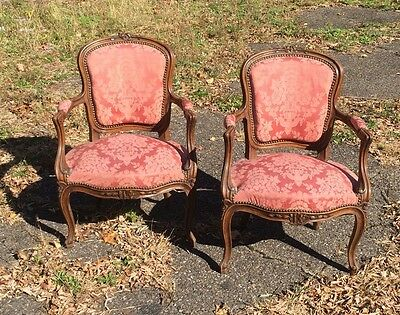 Pair Of Carved Antique Style Fruitwood French Open Armchairs