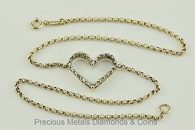 10k Yellow Gold Rolo Linked Diamond Accented Heart Charm Ankle Bracelet 10.75""