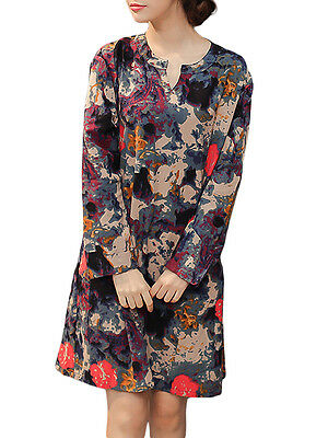 Vintage Women Floral Printed V Neck Long Sleeve Straight Cotton Linen Dress