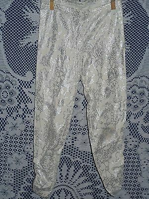 Old Navy Leggings ~ White w/ Silver Floral ~ Girl's ~ Size S (6/7) ~ GUC