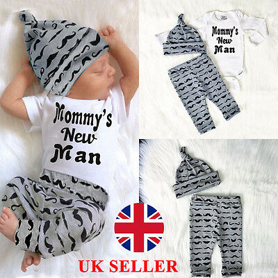 3PCS Newborn Baby Boy Rompers Pants Leggings Hat Beard Outfits Set Clothes UK8