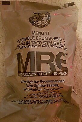 MRE Ration Packs 2016 1xVegetable Crumbles With Pasta in Taco Style Sauce (6091)