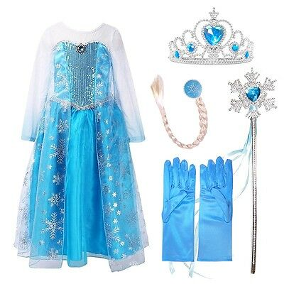 Ice Queen Deluxe Princess Elsa Snowflakes Dress with 4 pieces Accessories