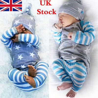 3PCS Baby Boys Girls Tops T-shirt Pants Leggings Hat Outfits Set Clothes UK8