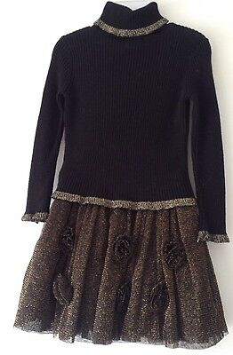 2-3 Years Girls Winter Outfit Black & Gold Skirt & Polo Neck Top EC S/P Free H