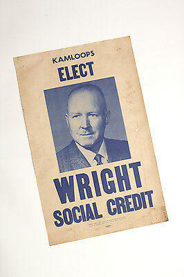 Kamloops BC Canada Political Campaign Candidate Poster Wright 1962